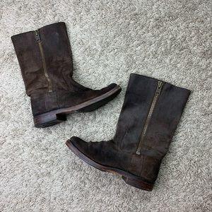 Frye brown suede calf boots